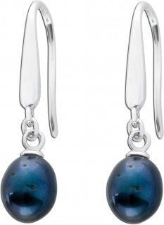 Ohrringe Perlen Ohrhänger Silber 925 grau Süßwasserzuchtperlen