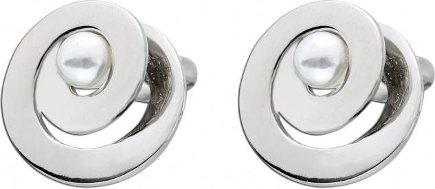 Perlen Ohrstecker Ohrringe Edelstahl T-Y poliert geschwungen weisse