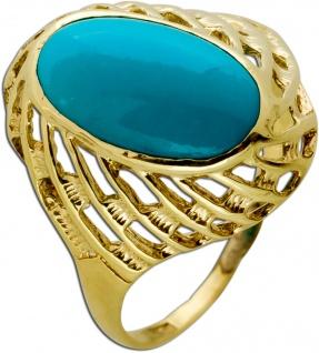 Antiker Türkis Ring Gelbgold 333 Hellblauer Edelstein Um 1950 TOP