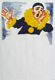 """7413 Karneval Plakat, """" Ausrufer Pierrot"""", 42x59cm groß"""