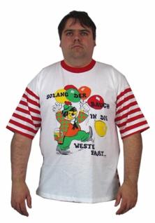 58681 T Shirt, vorne weiß mit Druck, hinten mit breiten roten Streif