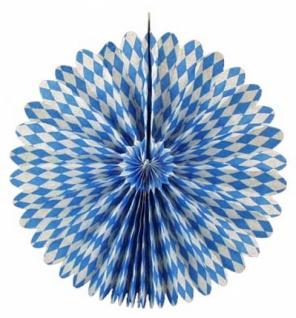 72030 Rosette aus Papier, mit 60cm Durchmesser, weiß/blau rautiert,