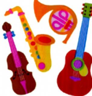 5602 Blatt mit 4 verschiedenen Musikinstrumenten, Perlmutt, selbstkl