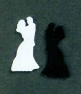"""7635 Streuartikel: """" Brautpaar"""", 20mm hoch, 5g Beutel, schw - Vorschau"""