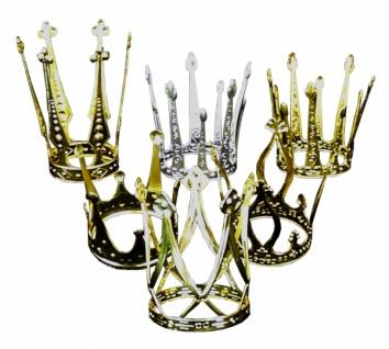 1329 einfache kleine Krone in 6 verschiedenen Ausführungen, gold und silberfarben, ca. 7 8cm Dur