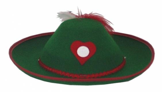 Hut aus Filz 1944 Dirndl Hut, in grün und rot, mit Federn, Filzherz,
