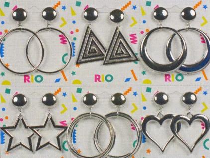10310 Sortiment mit 6 Paar Ohrringen an Clip: schmale und starke Ringe, Dreiecke, Creolen,