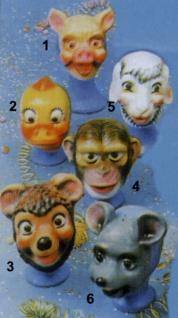 3094 Tiermasken für Kinder: Schwein, Schaf, Küken, Affe, Bär und Maus...