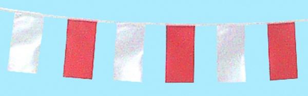 7243 Fahnenkette: Stoffband mit 16 Fahnen aus Plastik, davon abwechselnd 8 rote und 8 weiße, 4m la - Vorschau 1