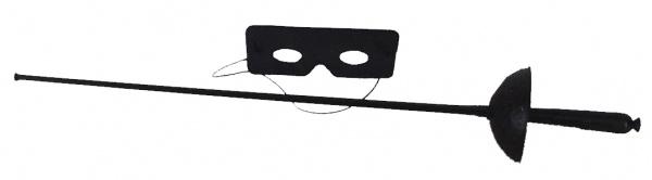 6470 Schwarze Zorro Garnitur: Degen und Maske...