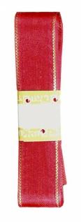 7602 Rotes Seidenband mit goldenem Randstreifen, 25mm breit, 3m lang