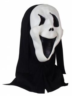 0160 Scream Maske, weiß mit schwarzem Kopftuch...