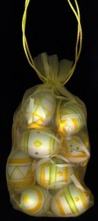 0901130 Netz mit 12 Ostereiern, mit verschiedenen Mustern, die Eier