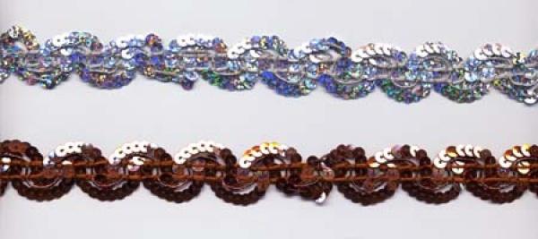 14541 Bogenborte aus Flitter (Pailetten), 22mm breit, in gold, - Vorschau 3