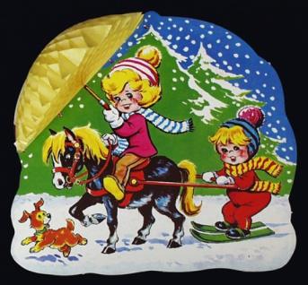 8267 Wabenkarten Dekoration mit 3D Effekt: 2 Kinder auf Pferd und