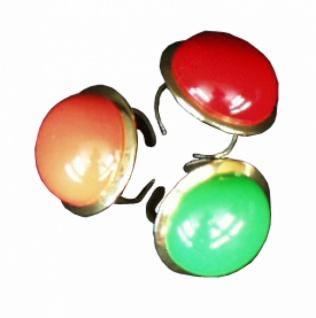 1299 Einfacher Ring mit einfarbigem Knopf, 27mm Durchmesser, in rot, orange, gelb und grün erhältl