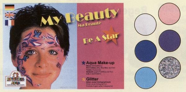 es206089 My Beauty Schmink Palette, mit den 3, 5ml Farben: Weiß, Himmelblau, Türkis