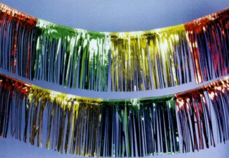 72632 Folien Fransengirlande, 10m lang, in gold, silber, rot, blau