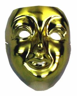 3072 Damen Maske, goldfarbene Plastik...