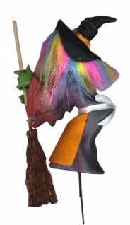 0242 Hexe mit Besen und Hut, am Stab, ca 12cm groß...