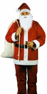 8121 Weihnachtsmann Kostüm: Jacke, Hose, Gürtel, Mütze, Bart, Einh