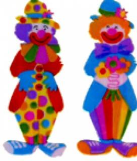 5600 2 Clowns, Perlmutt, selbstklebend, 50mm hoch...