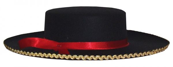 Hut aus Filz 2002 Spanier Hut (Torero), mit Goldeinfassung, rotes Ba