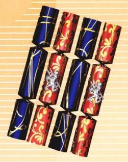 99920 4 Knallbonbons, je 2 aus rotem und blauem Glanzpapier mit Fant