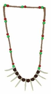 6415 Indianerkette aus bunten Perlen und Reißzähnen aus Plastik