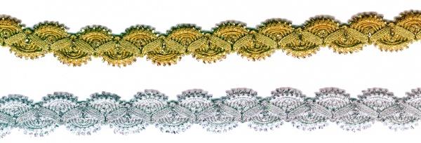 1454 Bogenborte in gold und silberfarben, 20mm breit, 5m lang