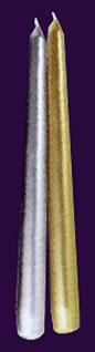 73791 Spitzkerzen für Leuchter, ca. 25cm lang, in gold und silber...