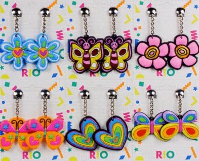 1038 1 Paar Hippie  Ohrclipse mit Blumen, Herzen oder Schmetterlingen...
