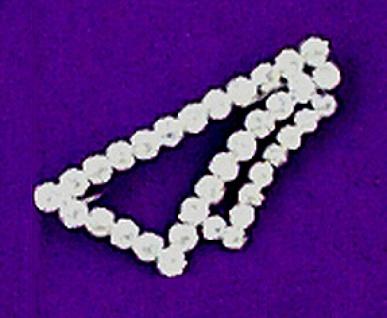 11982 Brosche als Krageneckform aus 35 Similisteinen, 60mm lang...