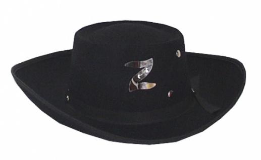 Hut aus Filz 1909 Zorro Hut, mit schwarzem Lackband, Kordel und Einf