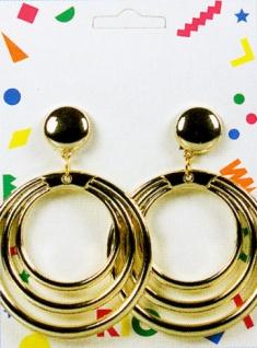 1034 1 Paar goldfarbene Ohrclipse, je 3 Ringe ineinander...