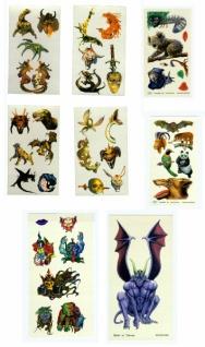 0070 Sticker mit bunten temporären Tatowierungen, 10 verschiedene Bögen mit Halloween Motiven, 8x1 - Vorschau