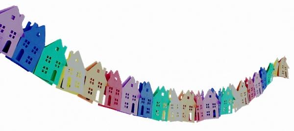 72612 Haus Girlande aus Papier, 3m lang, flammenresistent, z.B. für