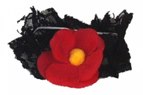59380 Breites Spitzen Strumpfband in schwarz mit großer roter Blume&