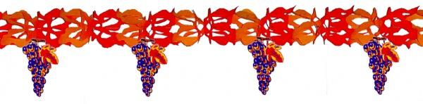 72394 Girlande, rot orange, mit 7 mehrfarbigen Trauben Anhängern, 4m