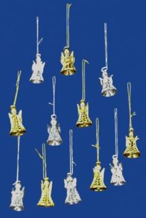 8241 Baumbehang: Set mit 6 silbernen Glasengeln, 50mm hoch...