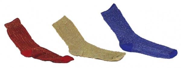 5942 Lurex Socken in gold, rot mit gold und blau mit gold, Einhe