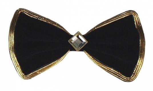 1311 Haarspange als Schleife aus schwarzem Samt, 13 cm lang, mit Gold oder Silberborte und weiße
