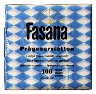 75383 100 Bayern Servietten, weiß/blau rautiert,