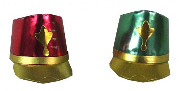 16671 Folie Schirmmütze in rot, grün und goldfarben...