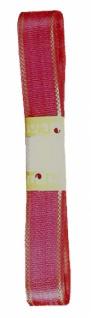 7601 Rotes Seidenband mit goldenem Randstreifen, 15mm breit, 3m lang