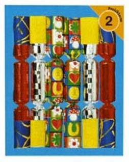 99981 6 Knallbonbons aus Glanzfolie, Krepp und Fantasiepapier, 18cm