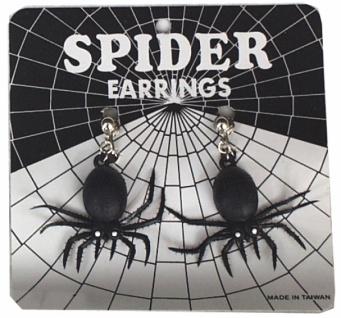 1002 1 Paar schwarze Spinnen an Ohrclip...