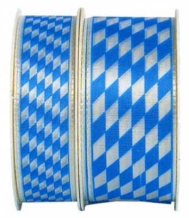 76121 1m Weiß Blaues Seidenband mit Bayern Rauten, 25mm breit