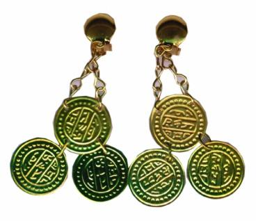 1049 1 Paar Zigeunerohrringe mit Clip, 3 Münzen...