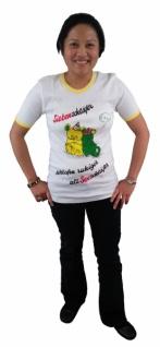 5854 Weißes T Shirt mit kurzem Arm, mit buntem Aufdruck: Siebenschlä